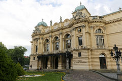 Juliusz Slowacki剧院在克拉科夫 免版税库存照片