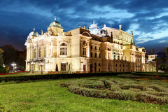 Juliusz Slowacki Theatre by night in Krakow, Poland Royalty Free Stock Photos