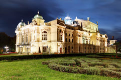 Juliusz Slowacki Theatre by night in Krakow, Poland, Eclectic st. Yle 19th century architecture Stock Images