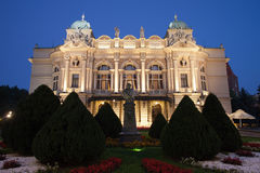 Juliusz Slowacki Theatre by Night in Krakow Royalty Free Stock Photos