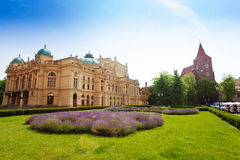 Juliusz Slowacki Theatre in sunny day, Krakow Royalty Free Stock Photos