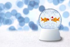 juljordklotguldfisk inom santa snow Royaltyfri Bild