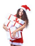 Juljultomten isolerade jul för kvinnaståendehåll Royaltyfria Bilder