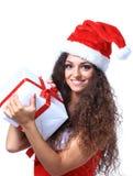 Juljultomten isolerade jul för kvinnaståendehåll Arkivbild