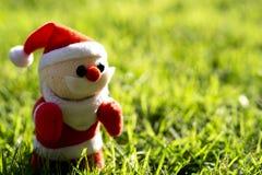 Juljultomten på grönt gräs på morgontid royaltyfri bild