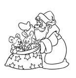 Juljultomtengåvor som färgar sidan Arkivfoton
