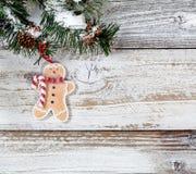 Julkakaprydnad som hänger från snöig grov kli för granträd Royaltyfri Foto