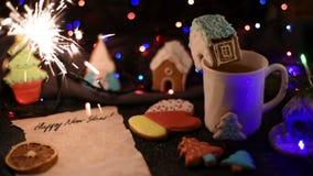 Julkakor och kopp av tea lager videofilmer