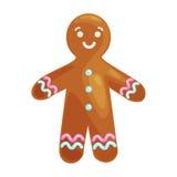 Julkakor som ler pepparkakamannen, dekorerade med isläggningdans och att ha den roliga söta matvektorn för xmas Arkivbild