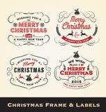 Julkalligrafiram och etikettmalldesign Arkivfoton