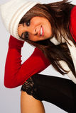 Julkläder fashion vinterkvinnan Arkivbilder