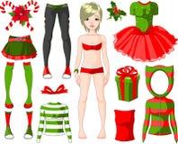 julklänningflicka vektor illustrationer
