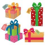 Julklappar med etiketter stock illustrationer
