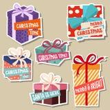 Julklistermärkesamling med gåvaaskar stock illustrationer
