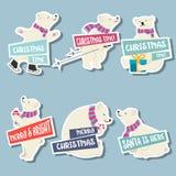Julklistermärkesamling med isbjörnar och önska stock illustrationer