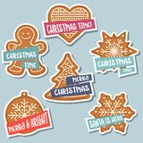 Julklistermärkesamling med jul pepparkaka och wis royaltyfri illustrationer