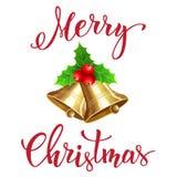Julklocka med handskriven text Fotografering för Bildbyråer