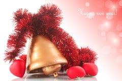 Julklocka med julprydnader Fotografering för Bildbyråer
