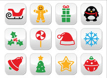 Julknappar ställde in - jultomten, xmas-trädet, gåva Arkivfoto
