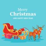 Julkort av den Santa Claus släden och renen stock illustrationer