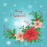Julkort, ett baner med en krans av den röda blommajulstjärnan, granfilialer, järneksidor och bär Krans med royaltyfri illustrationer