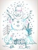 Julkort för tecknad snowman för xmas-design hand royaltyfri illustrationer