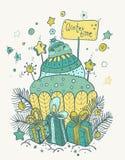 Julkort för xmas-design Arkivbilder