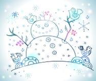 Julkort för xmas-design med snögubben Arkivbilder