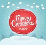Julkort. Feriebakgrund med emblemet. Fotografering för Bildbyråer