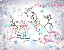 Julkort för xmas-design med den hand drog snögubben Arkivbilder