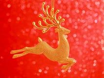 Julkort - guld- renprydnad Royaltyfri Fotografi