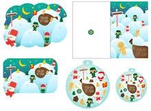 Julkort i fem variationer i olika former och format stock illustrationer