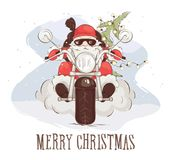 Julkort -- Jultomtencyklist royaltyfri illustrationer