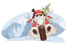 Julkort -- Jultomtencyklist vektor illustrationer