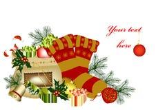 Julkort med avstånd för din text Vektor Illustrationer