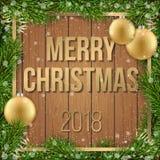 Julkort med bakgrund för boll för ram för granträd trä Royaltyfria Bilder