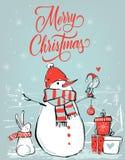 Julkort med björnen och hare stock illustrationer