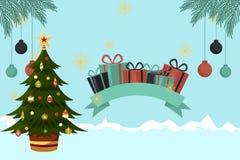 Julkort med blåa julgranprydnader royaltyfri illustrationer