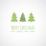 Julkort med dekorativa julträd Arkivbild