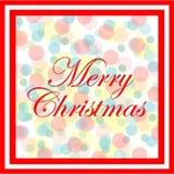 Julkort med den färgrika pricken på röd ram Arkivfoton