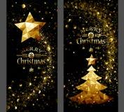 Julkort med den guld- stjärnan och Poly träd lågt stock illustrationer