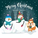 Julkort med den gulliga ekorren, snögubben och önska stock illustrationer