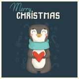 Julkort med den gulliga pingvinet Royaltyfri Bild