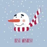 Julkort med den gulliga snögubben i halsduk Royaltyfri Foto