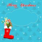 Julkort med den röda kängan Arkivfoto