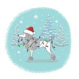 Julkort med den roliga pudelhunden i jultomtenhatt stock illustrationer