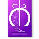 Julkort med den stiliserade julbollen Royaltyfri Fotografi