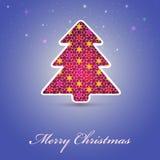 Julkort med det festliga trädet Royaltyfria Foton