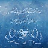 Julkort med det granträdet och huset vektor illustrationer