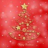 Julkort med det guld- snöflingaträdet vektor illustrationer